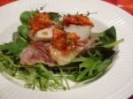Scallops with pancetta and Romesco Sauce.
