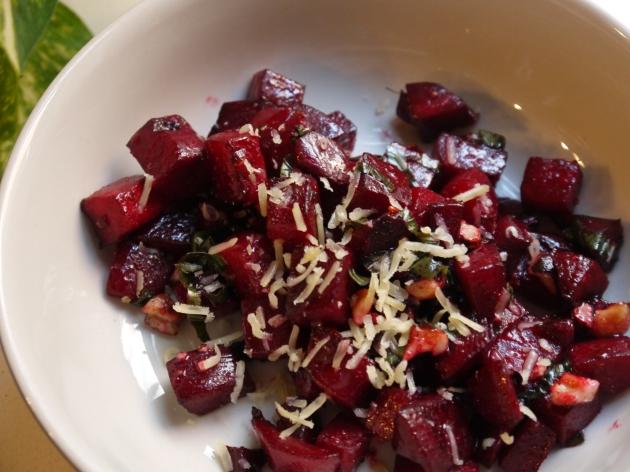 Beautiful beet salad with toasted hazelnuts, Gouda and fresh basil.