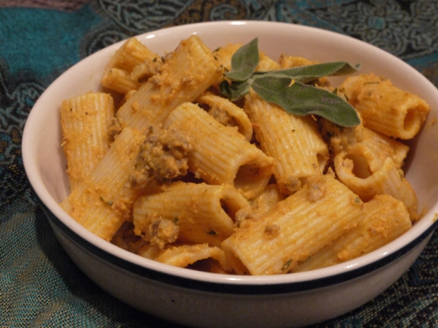 Creamy pumpkin rigatoni with sausage - the savory way to do pumpkin.